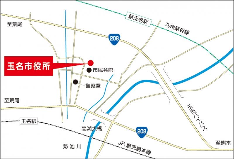 市役所の位置を表した画像です。